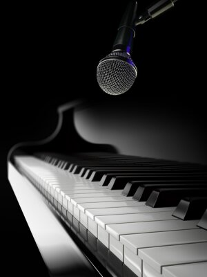 Carta da parati tasti di pianoforte pianoforte nero con il microfono
