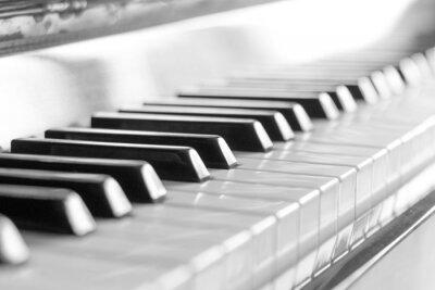 Carta da parati Tastiera di pianoforte. Immagine in bianco e nero con messa a fuoco selettiva