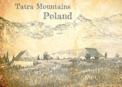 Carta da parati Tatra mountain in Poland, sketch on old paper