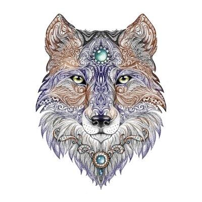 Carta da parati Tattoo head wolf wild beast of prey