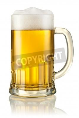 Carta da parati Tazza con birra isolato su bianco con il percorso di clipping
