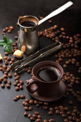 Carta da parati Tazza di caffè e chicchi di caffè