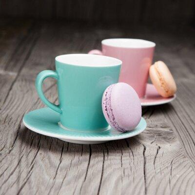 Carta da parati Tazze di caffè con amaretti francese sul tavolo