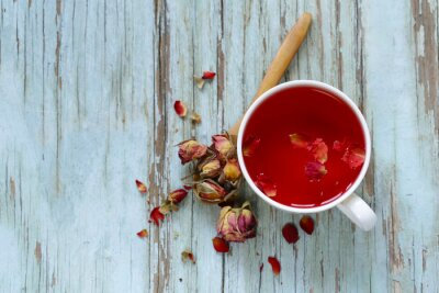 Carta da parati tè fiore rosso, dai petali di rosa