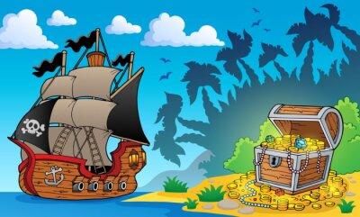Carta da parati Tema pirata con scrigno 1