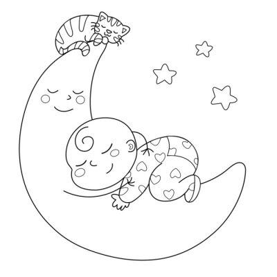 Carta da parati Tenera luna con bebè che dorme