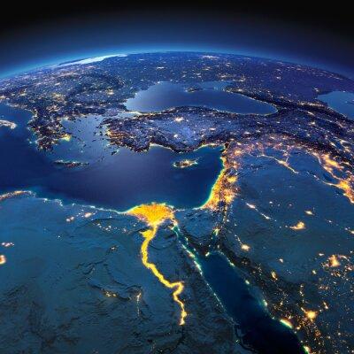 Carta da parati Terra dettagliata. Africa e Medio Oriente su una notte di luna