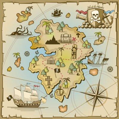 Carta da parati tesoro dei pirati mappa dell'isola vettore