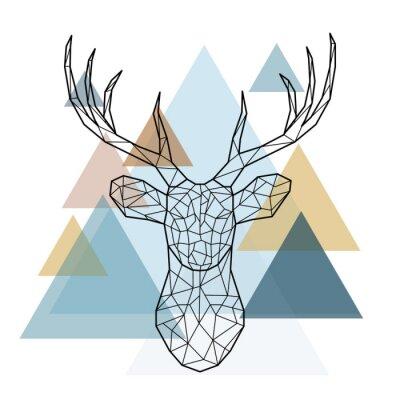 Carta da parati Testa di cervo geometrica. Stile scandinavo