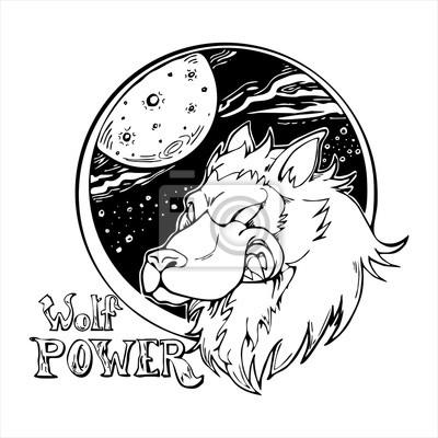 pretty nice 7361e 98978 Carta da parati: Testa di lupo con galassia fumetto illustrazione logo  vettoriale