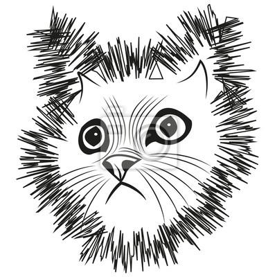 Testa Vettore Del Gatto Stilizzato Testa Di Gatto Stilizzata Carta