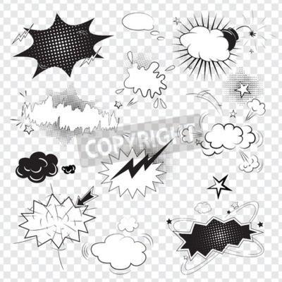 Carta da parati Testo vuoto fumetto discorso nero bolle in stile pop art