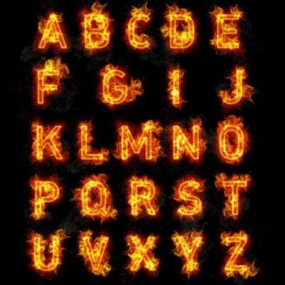 Carta da parati Text Fire font tutte le lettere dell'alfabeto su sfondo nero