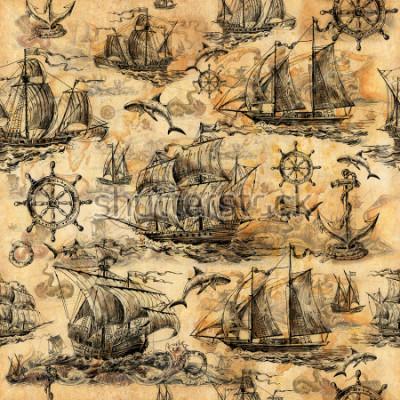 Carta da parati Texture vintage senza soluzione di continuità, carta da parati su un tema marino, disegnata a mano con vecchie barche a vela, squali, volanti, cerchi di risparmio e vecchia carta.