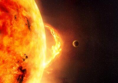 Carta da parati The Sun - Solar Flare. Un'illustrazione del sole e il chiarore del sole con un pianeta per dare scala per le dimensioni del bagliore.