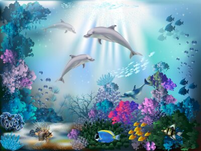 Carta da parati The underwater world with dolphins and plants