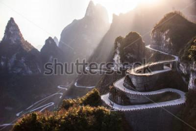 Carta da parati The winding road of Tianmen mountain national park, Hunan province, China