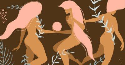 Carta da parati Three nude beautiful women with floral decoration product or apparel design concept.