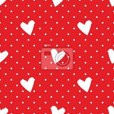 Tile Vettore Modello Cuori Pois Bianchi Su Sfondo Rosso Carta Da