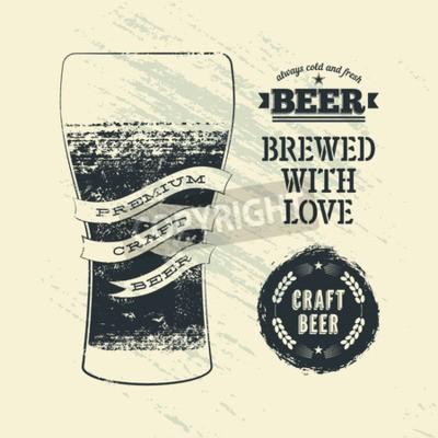 Carta da parati Tipografia manifesto birra stile grunge con un bicchiere di birra. Illustrazione vettoriale.