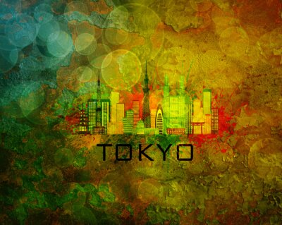 Carta da parati Tokyo City Skyline su sfondo grunge Illustrazione