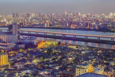 Carta da parati Tokyo vista sulla città con la torre di Tokyo nella penombra