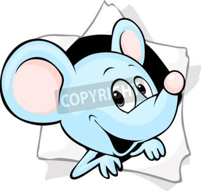 Carta da parati Topo peering fuori da un foro in una carta