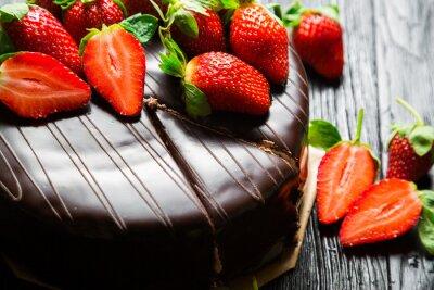Carta da parati Torta al cioccolato con fragole fresche