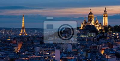 Carta da parati Tour Eiffel et Sacré Coeur au couché de soleil