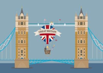 Carta da parati Tower Bridge di Londra con mongolfiera