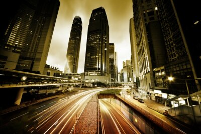 Carta da parati traffico a Hong Kong al momento del tramonto