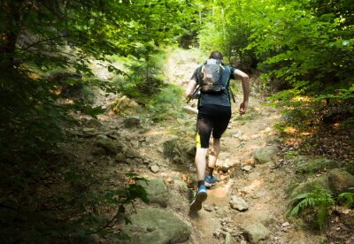 Carta da parati trail runner with backpack running up the steep hill