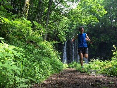 Carta da parati TrailRunner sul percorso del terreno boscoso