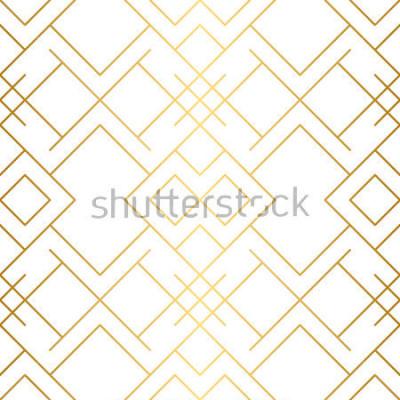 Carta da parati Trama dorata Motivo geometrico senza soluzione di continuità. Sfondo dorato Vector seamless. Sfondo geometrico con rombi e nodi. Motivo geometrico astratto.