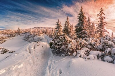Carta da parati tramonto invernale sul Beschidi Monti