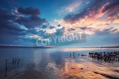 Carta da parati Tramonto sul lago HDR immagine
