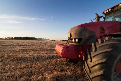 Carta da parati Trattore agricolo su un campo di stoppie