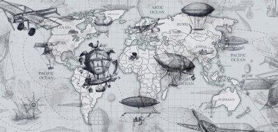 Carta da parati travel across the globe, balloons, aircraft, cars, ships photo wallpapers on the wall