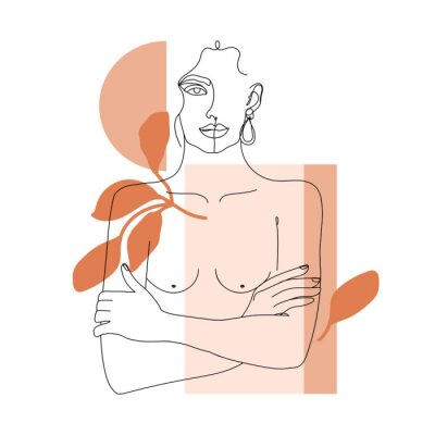 Carta da parati Trendy one line woman body with abstract geometric shapes. Girl crossing arms on her chest. Elegant continuous line print for textile, poster, card, t-shirt etc. Vector fashion illustration.