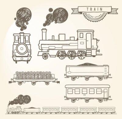 Carta da parati Treno Doodle. EPS8.