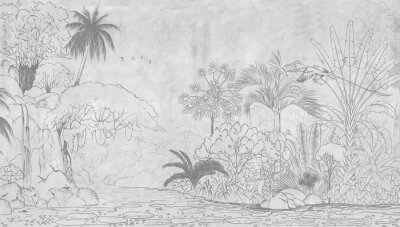 Carta da parati Tropical nature landscape, jungle with exotic tropical plants, flowers and leaves. Drawn jungle illustration. Design  for card, postcard, wallpaper, photo wallpaper, mural.