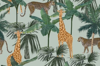 Carta da parati Tropical seamless pattern with palm trees, giraffes and leopards. Summer yungle background. Vintage vector illustration. Rainforest landscape