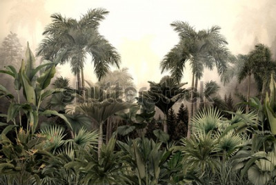 Carta da parati tropical trees and leaves wallpaper design in foggy forest - 3D illustration