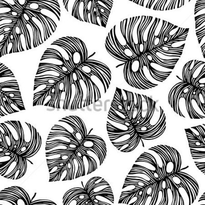 Carta da parati Tropical trendy seamless pattern with exotic leaves.