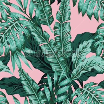 Carta da parati Tropical vector green leaves seamless pattern pink background. Exotic wallpaper
