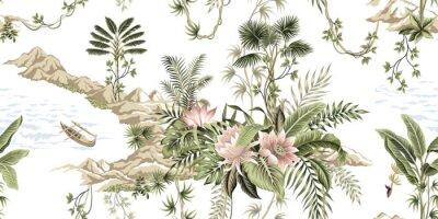 Carta da parati Tropical vintage botanical island, palm tree, mountain, sea wave,boat, palm leaves, liana, lotus flower summer floral seamless pattern white background.Exotic jungle wallpaper.