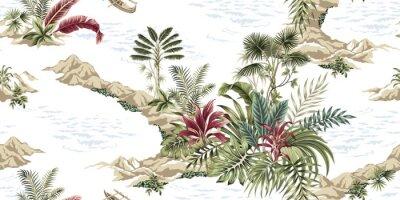 Carta da parati Tropical vintage botanical island, seamless pattern white background. Exotic jungle wallpaper.