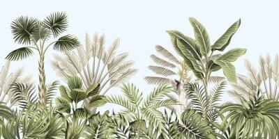 Carta da parati  Tropical vintage botanical landscape, palm tree, banana tree, plant floral seamless border blue background. Exotic green jungle wallpaper.