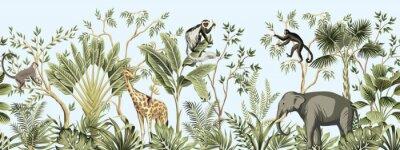 Carta da parati Tropical vintage botanical landscape, palm tree, banana tree, plant, palm leaves, giraffe, monkey, elephant floral seamless border blue background. Jungle animal wallpaper.