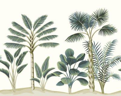 Carta da parati Tropical vintage Hawaiian palm trees, banana tree, plant floral seamless pattern white background. Exotic jungle wallpaper.